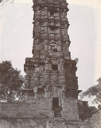 Close view of the lower portion of the south face of the Jaya Stambh or Tower of Victory,showing entrance, Chittaurgarh [Chitorgarh]
